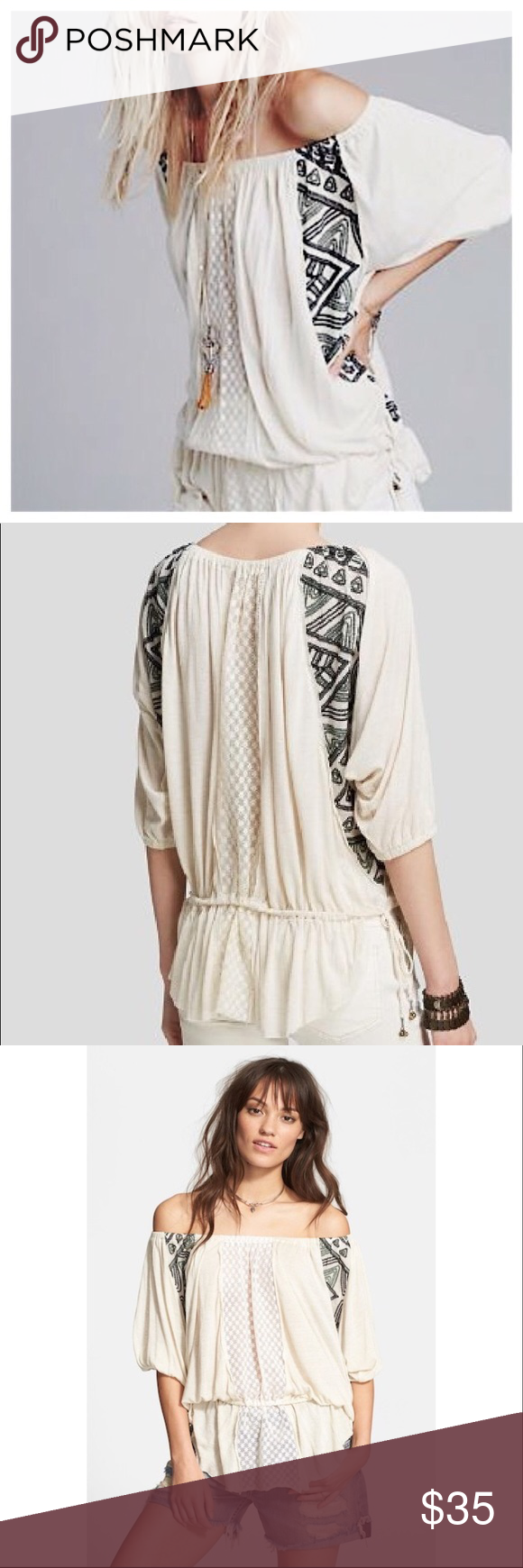 767eb68c47e Free People off-shoulder New World butterfly tunic Very cute, flowy Free  People tunic that gives off easygoing style vibes! Can be worn off the  shoulder or ...