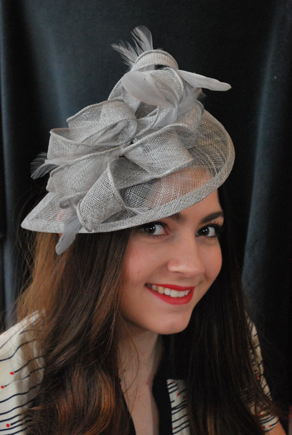 6b9ac4f909ae1 Silver Grey Fascinator, Womens Tea Party Hat, Church Hat, Derby Hat, Fancy  Hat, Silver Hat, Tea Part