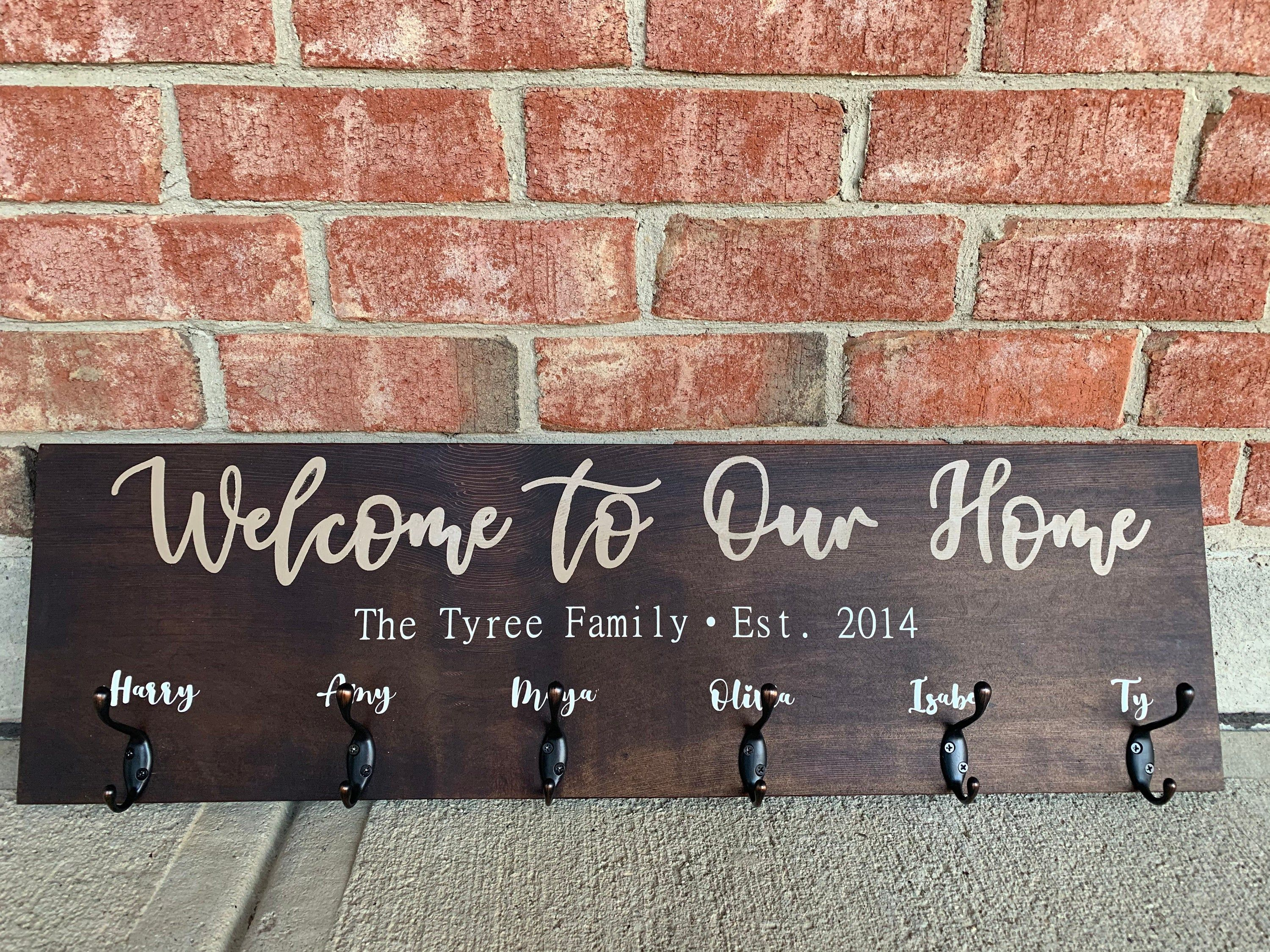Personalized Entryway Welcome Sign Coat Rack Wall Sign With Hooks Entryway Rustic Christmas Gift Wedding Gift Designs Beyond Refined Entryway Coat Rack Home Decor Christmas Gifts Coat Rack