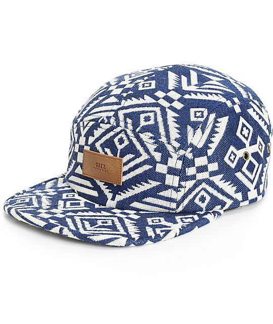 ad10d239cc966 An indigo and white woven tribal print 5 panel construction and a brown  leather Obey logo patch at the front.