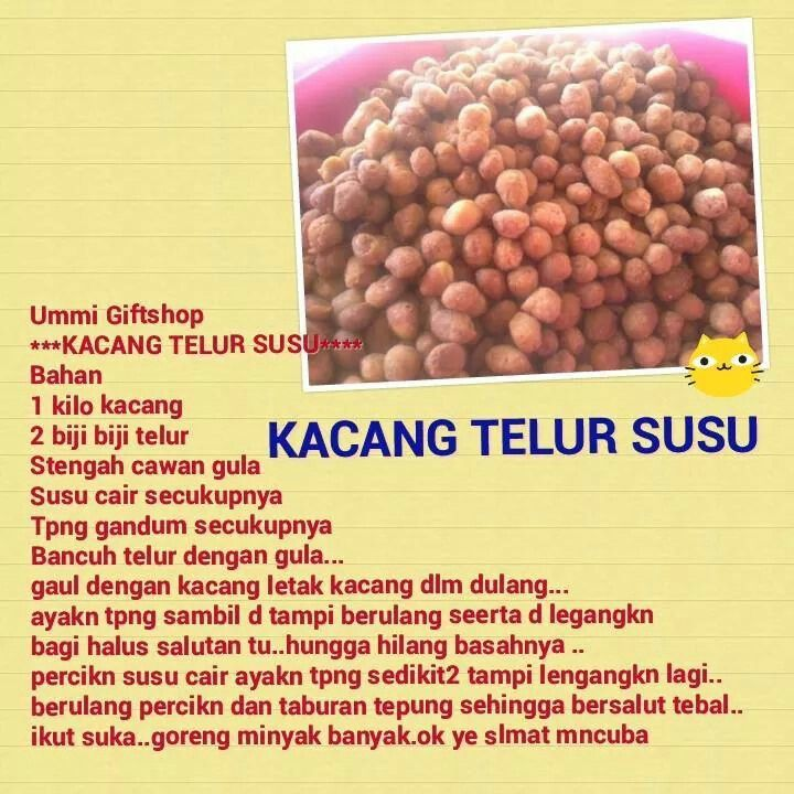 Kacang Telur Susu Malaysian Food Recipe Cards Cake Cookies Dan Asia