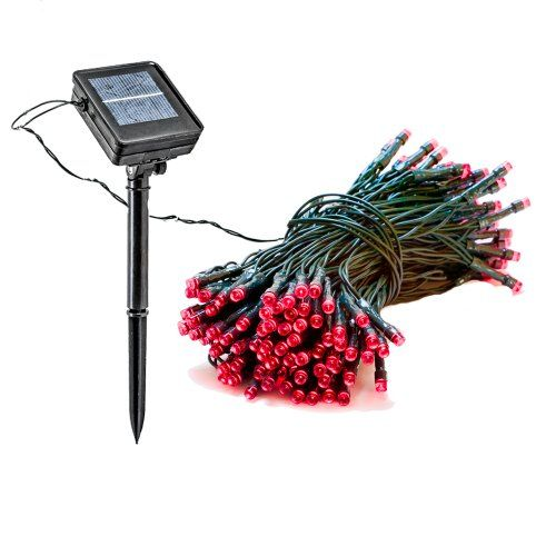 55 Foot Solar Powered Outdoor Christmas Holiday String Lights w/ 150 Red LED Reusable Revolution