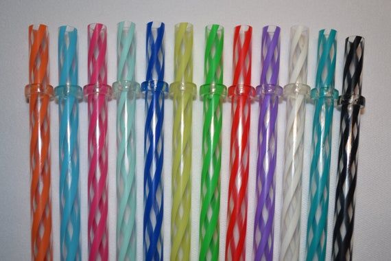 50 Mixed Reusable Colored Straws Hard Plastic Acrylic with Rings BPA Free