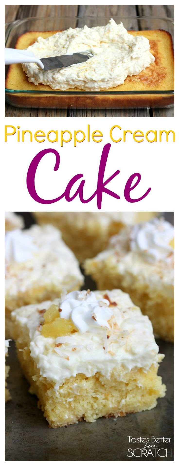 Pineapple Cream Cake is part of Cake - Pineapple Cream Cake is a yellow cake with a creamy pineapple frosting topped with a dollop of whipped cream