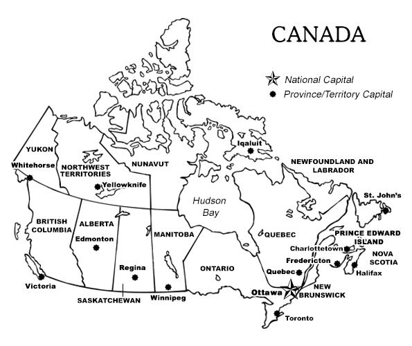 Map Of Canada Colouring Page.Printable Map Of Canada With Provinces And Territories And Their