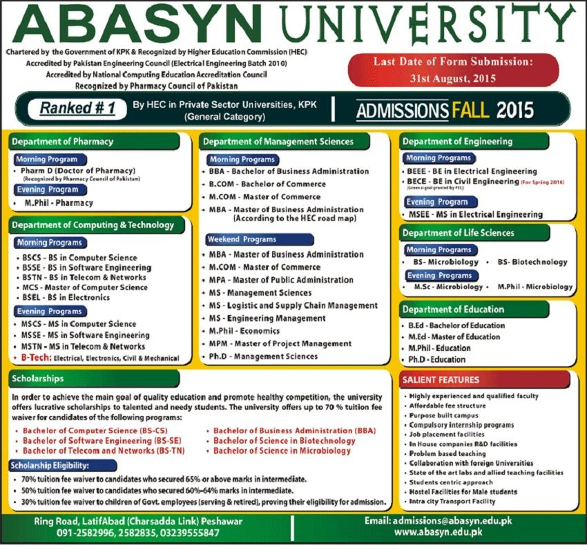 BSCS MPhil Pharmacy Pharm D Admissions In Abasyn University