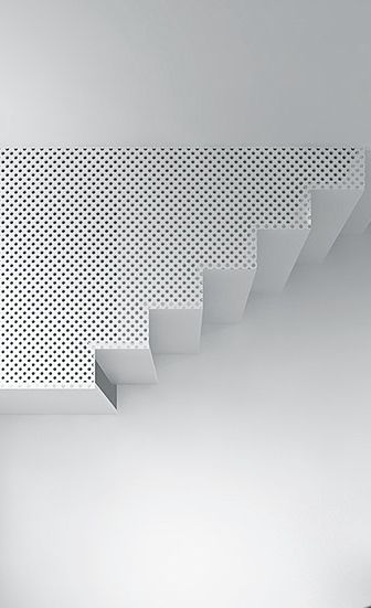 I love this suspended stairwell. Hanging down from the ceiling it's perforated side screen creates porosity between here and there. The stair users drift past like 'ghosts from above'.