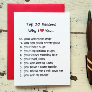 Funny Love Card Top 10 Reasons Why I Love You Funny