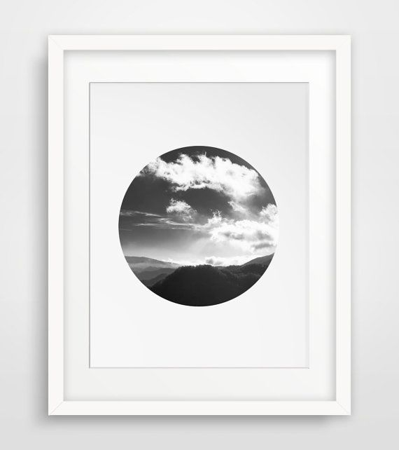 Mountain Photography, Clouds Photo, Minimalist Poster, Modern Photography, Landscape Printable, Printable Artwork, Digital Art Poster