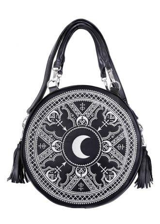 Restyle Henna White Embroidered Round Bag