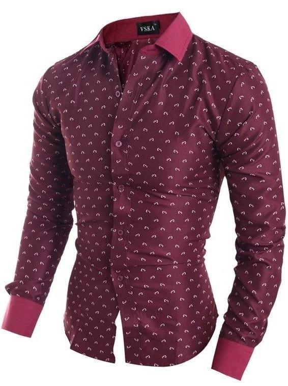 5490b75b8 Camisa Elegante de Vestir Moderna con Estampado Fashion - en Vino ...