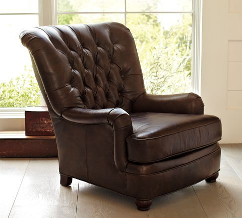 Baxter Leather Club Armchair Pottery Barn Furniture - Comfy leather armchair for readers