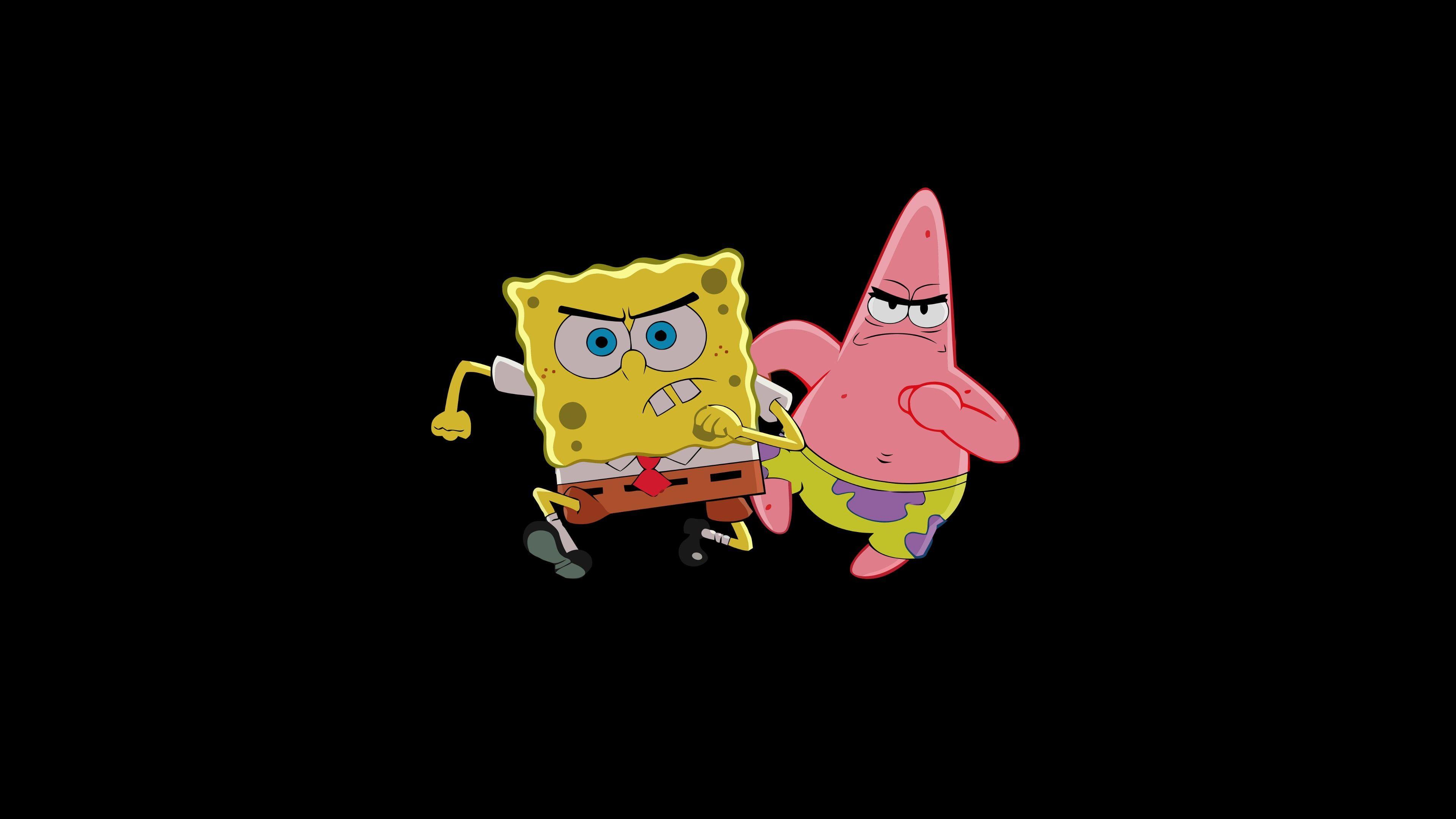 HD wallpaper: Spongebob Squarepants and Patrick illustration, simple, simple background