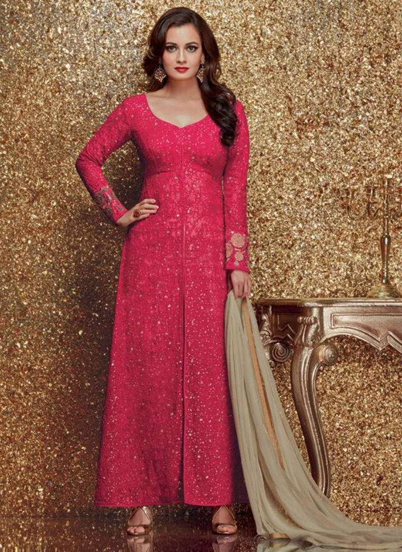 Pink Net Party Wear Embroidered Work Churidar Suit | Salwar Kameez ...
