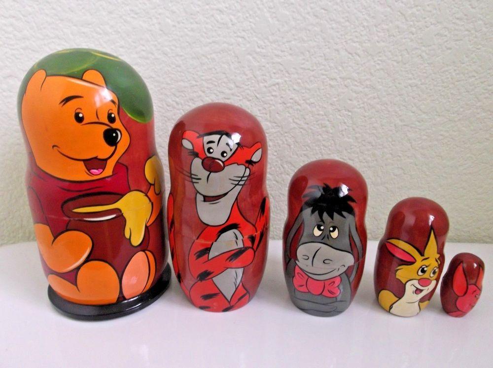 Russian Matryoshka Winnie-the-Pooh Wooden nesting dolls toy hand painted 5pcs