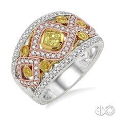 Tri Gold Wide Band With Fancy Yellow and White Diamonds.