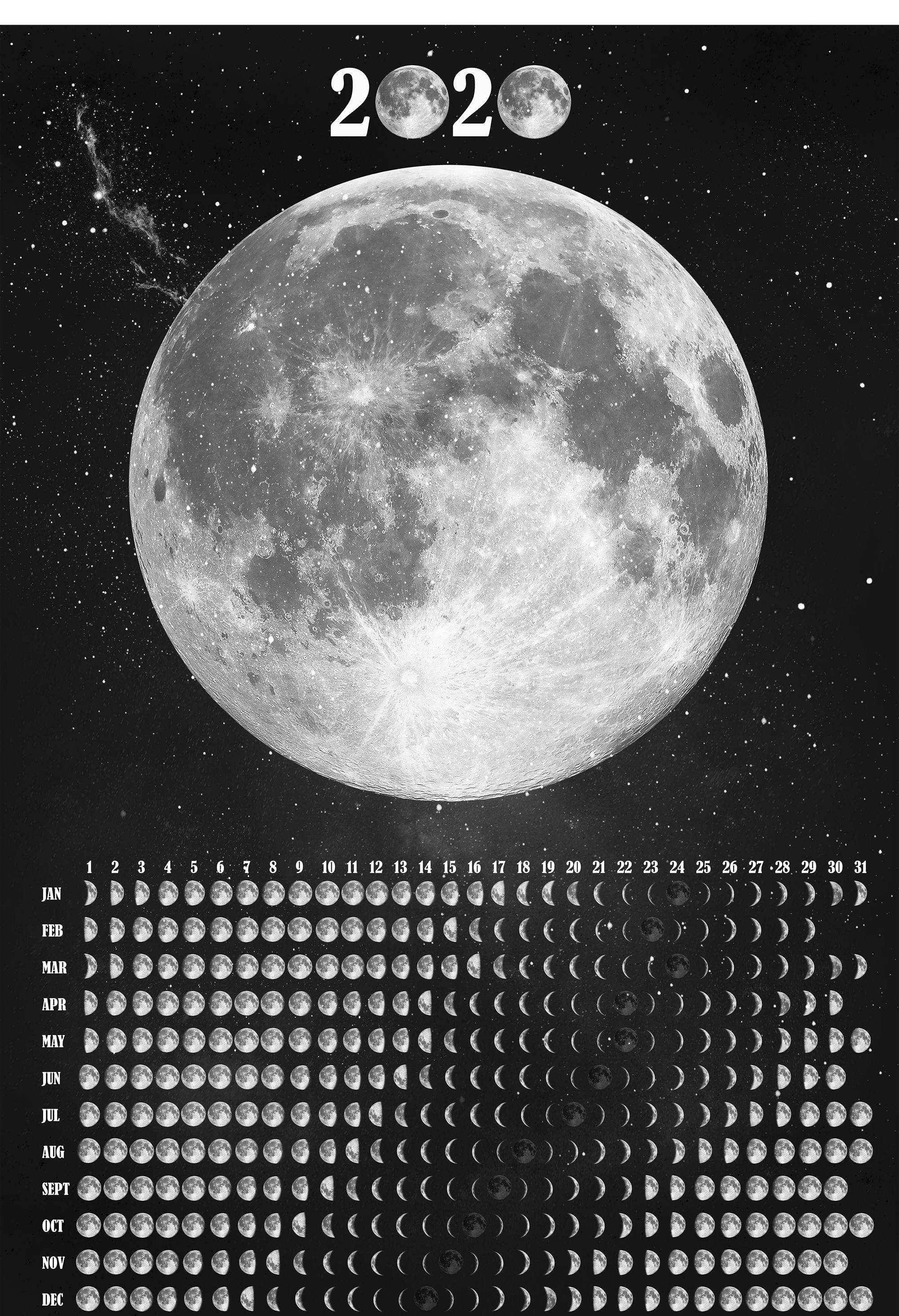 Moon Wall Calendar 2020 Lunar Calendar Moon Phase Poster Space
