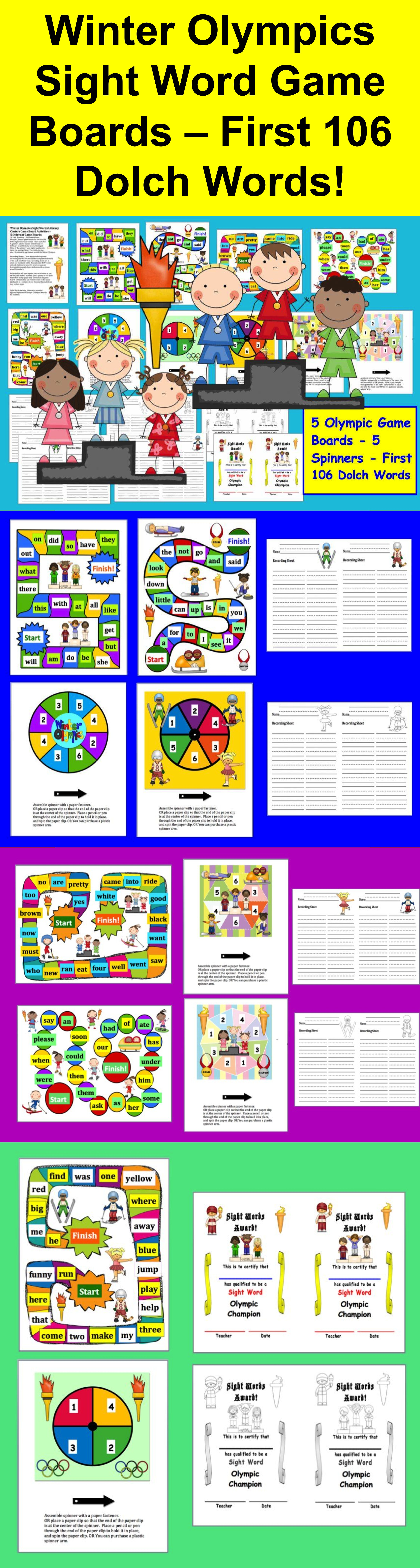Winter Games Olympic Sight Words Game Boards