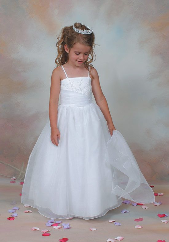 Satin Flower Girl Dresses with Embroidery