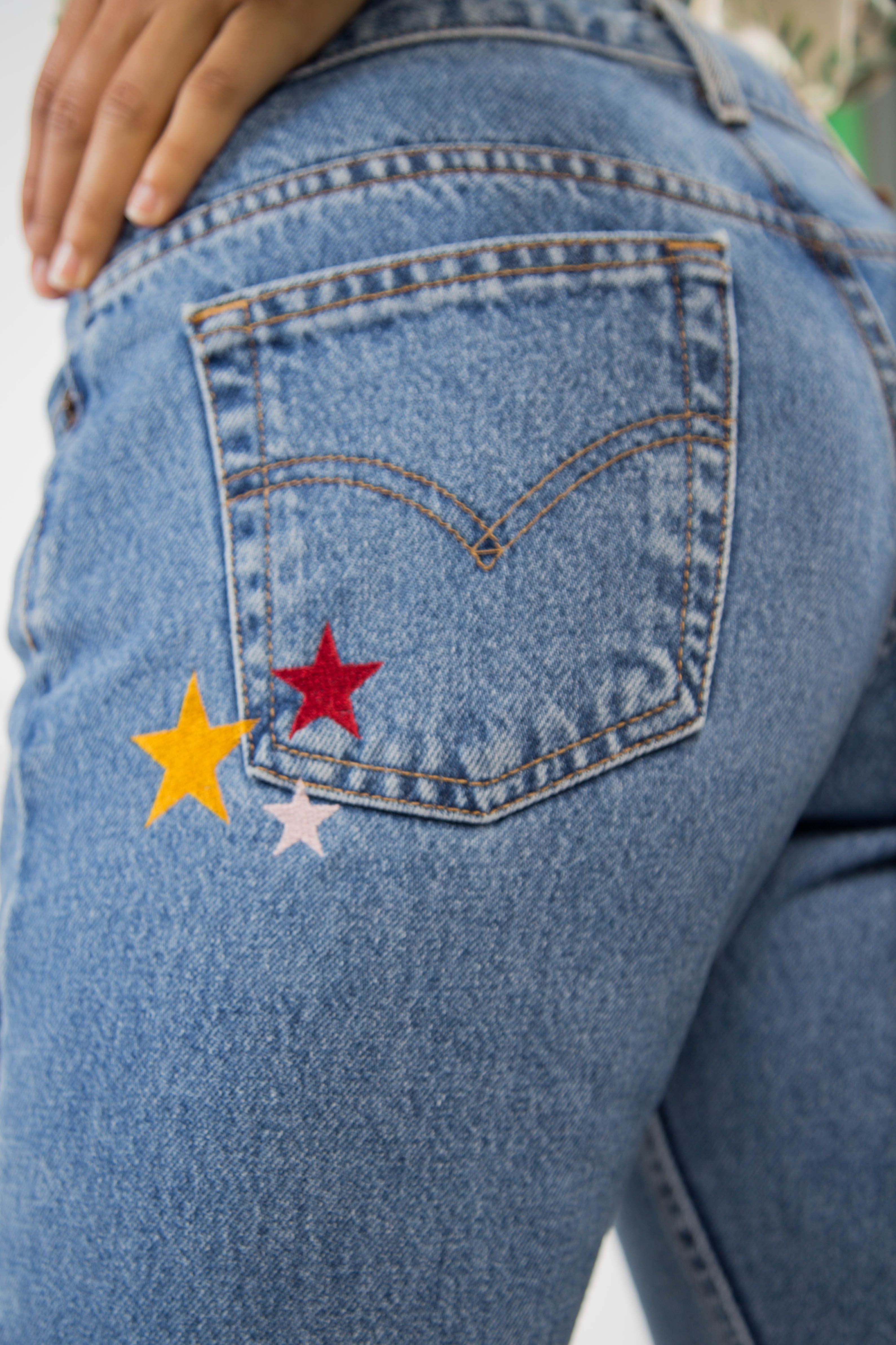 Outta This World Star Embroidered Levis