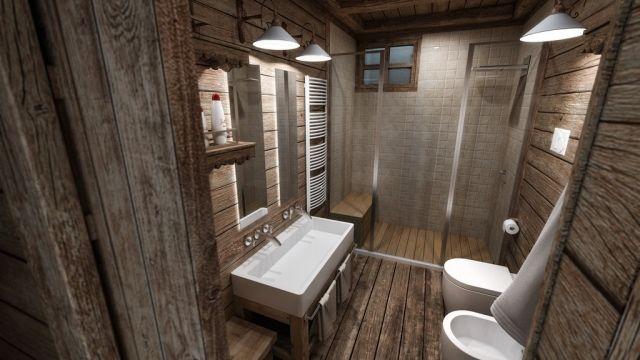 Badezimmer Rustikal Holz Wand Boden Begehbare Dusche