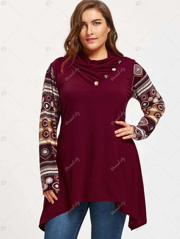 09384c93696cf Heaps Collar Long Sleeve Plus Size Sharkbite T-shirt - WINE RED 5XL ...
