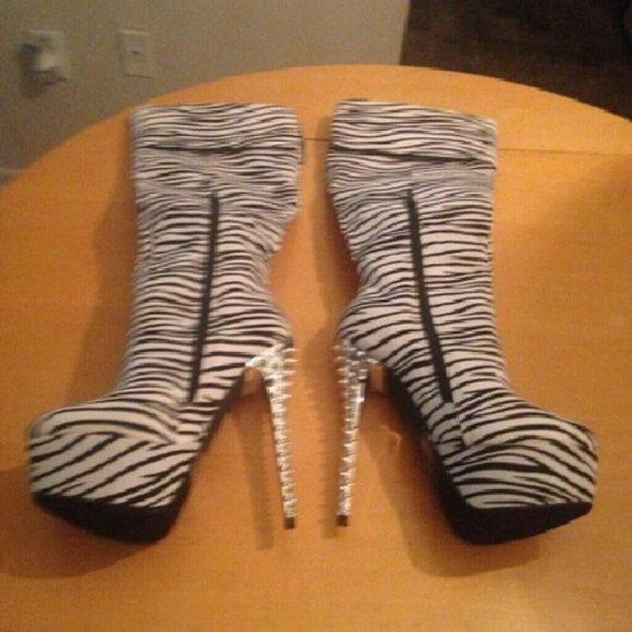New Size 7  cuffed zebra print thigh high boots Size 7 zebra print thigh high boots with 6 six inch heels Shoes Over the Knee Boots
