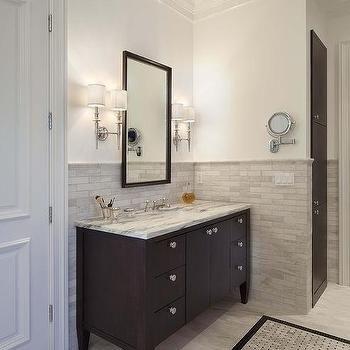 Half Tiled Wall | dragonfly guest bathroom | Pinterest | Brick tiles on half table bathroom, half bathroom designs, half wall bathroom, half bathroom remodeling, subway tile bathroom, blue white half bathroom, tan tile bathroom, half glass bathroom, half bath ideas,