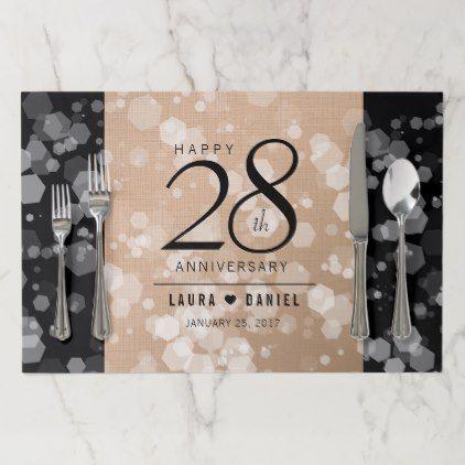 Elegant 28th Linen Wedding Anniversary Celebration Paper Placemat