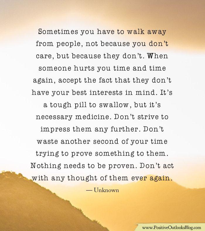 When walking away...