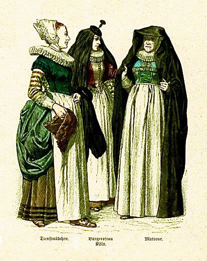 Plate #54d - Mid-Seventeenth Century - Germany. Servant Girl, Townswoman from Cologne, Matron