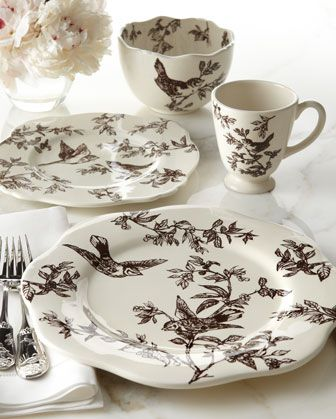 Brown Bird Toile Dinnerware J WILLFRED BROWN BIRD TOILE DINNER PLATES from Andrea by Sadek : toile dinnerware - pezcame.com