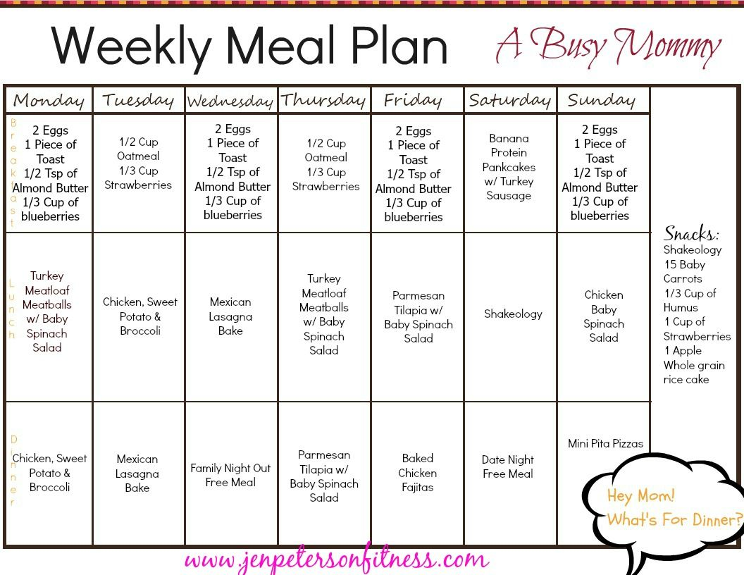 Oatmealt Meal Plan