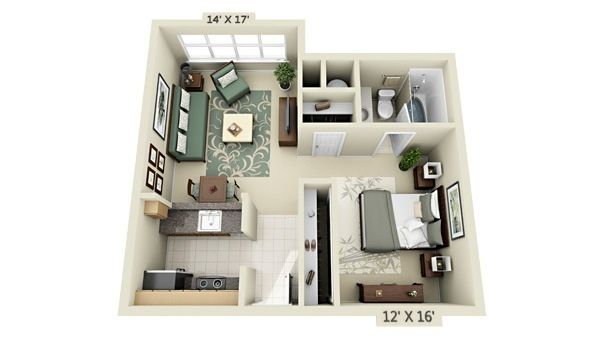 Studio Apartment Floor Plan In Crescent Cameron Village clean