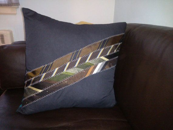 Vintage Neckties Pillow Cover by JoBieBags on Etsy,