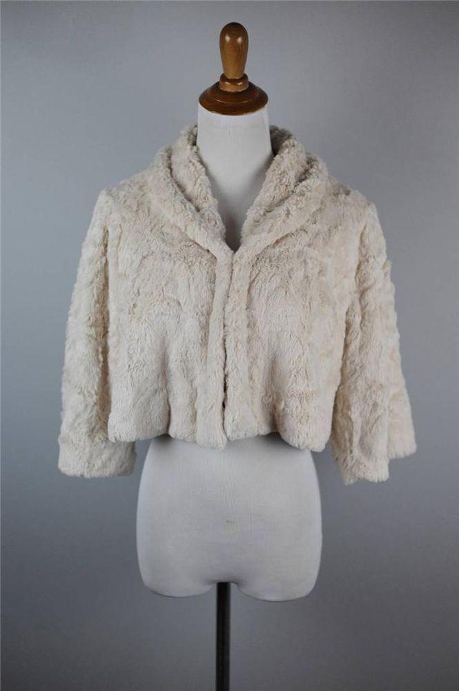 9d8c395c60 CABI [G51] | S | #706 Ivory Alpine Shrug | Faux Fur Jacket | NWOT | Lined |  SOFT #CAbi #BoleroShrug