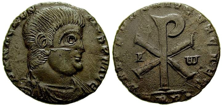 The Chi Rho symbol is frequently found on the reverse of coins issued after Constantine's victory, as a control mark, and on labarum (Chi Rho Christogram standardards) held by the emperor in various poses