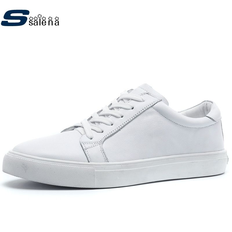 4800bbe08d99 Shoes Men Skateboarding Leather Summer Breathable White Sneakers ...