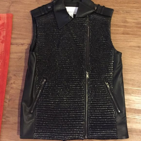"bar III front row ""poly"" vest Edgy and chic! Never worn with tags still on. Slanted zip up the front and two zippered pockets. Bar III Tops"