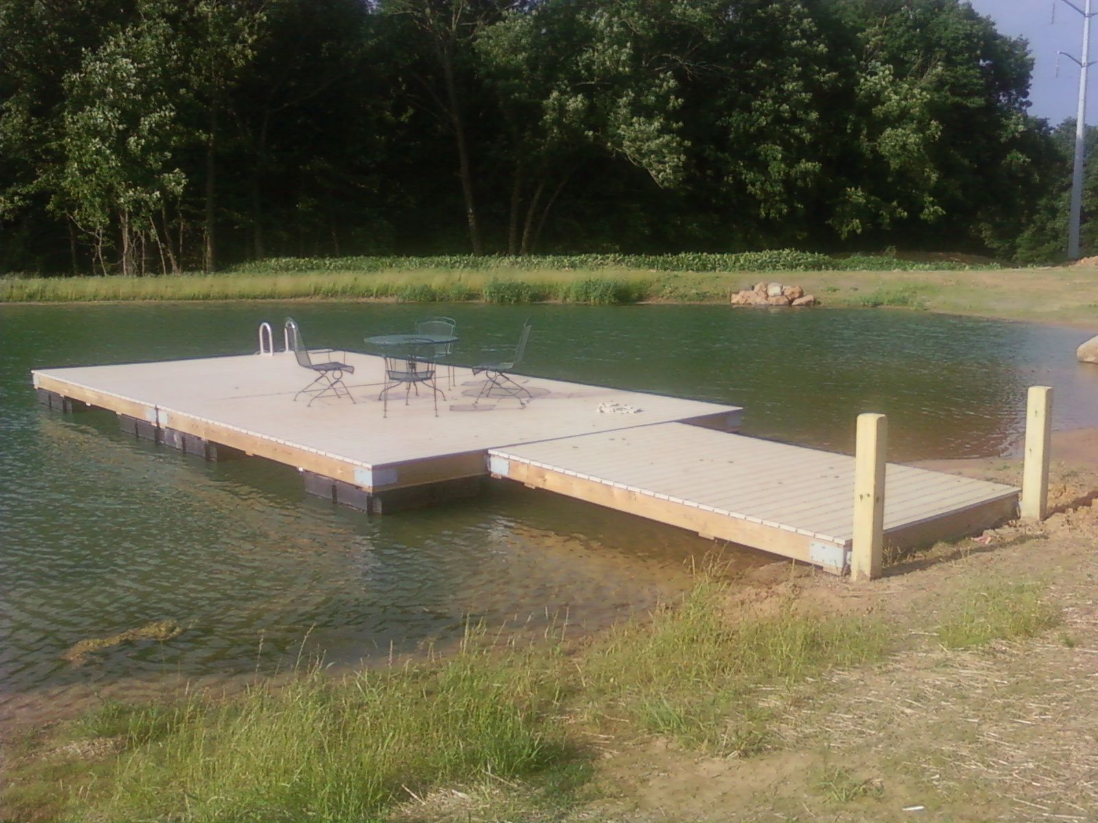 Herman brothers blog building a floating dock pictures for Pond building ideas