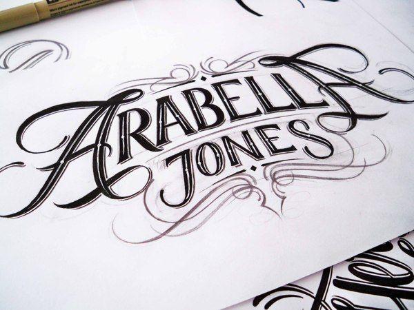 Handlettered Logotypes (Arabella Jones) by Mateusz Witczak, via Behance