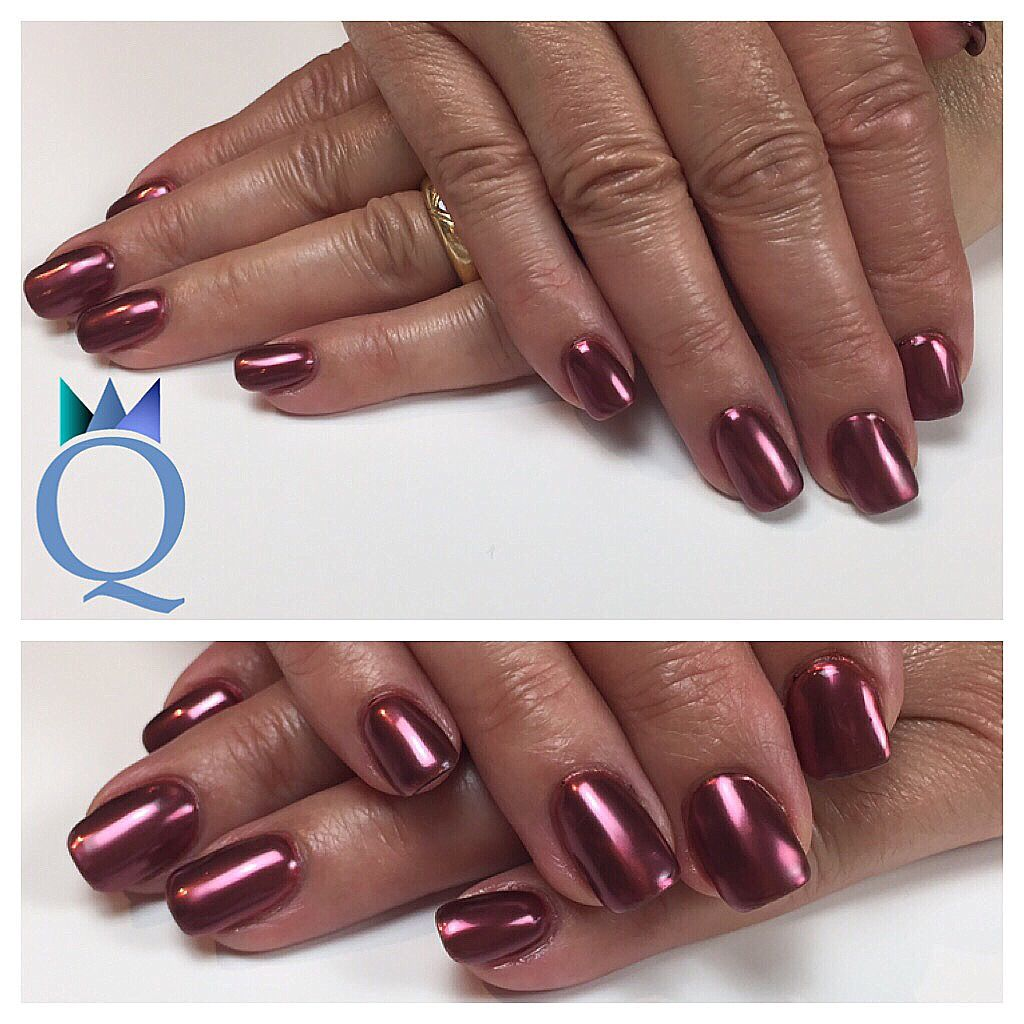 shortnails acrylicnails nails red chrome kurzen gel. Black Bedroom Furniture Sets. Home Design Ideas