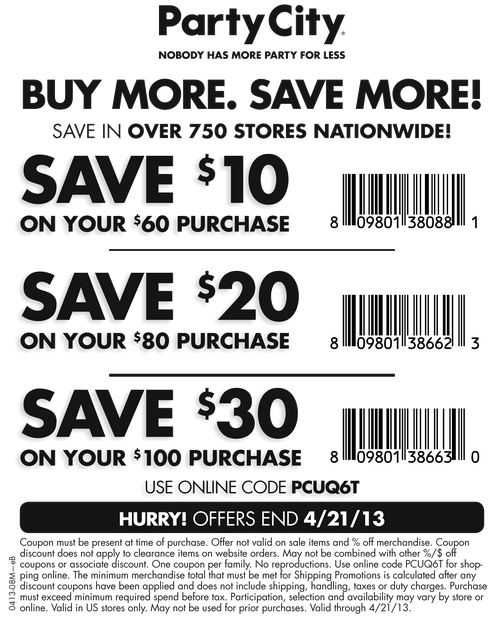 Party City 1030 off Printable Coupon Free printable