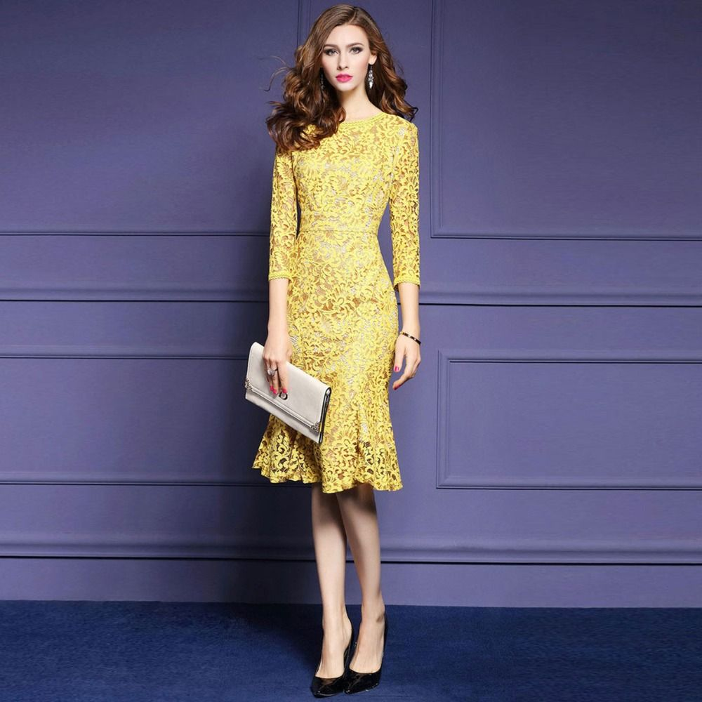 Click to Buy << YUS large size XXXL 2017 elegant dress Slim slim ...