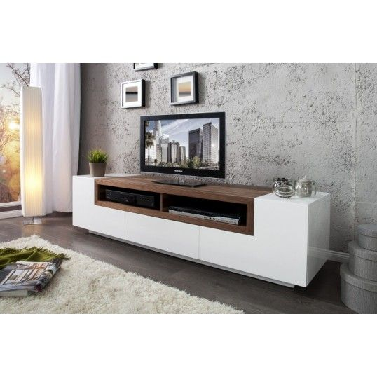Dulcia massive sideboard white high gloss walnut tv - Cream high gloss living room furniture ...