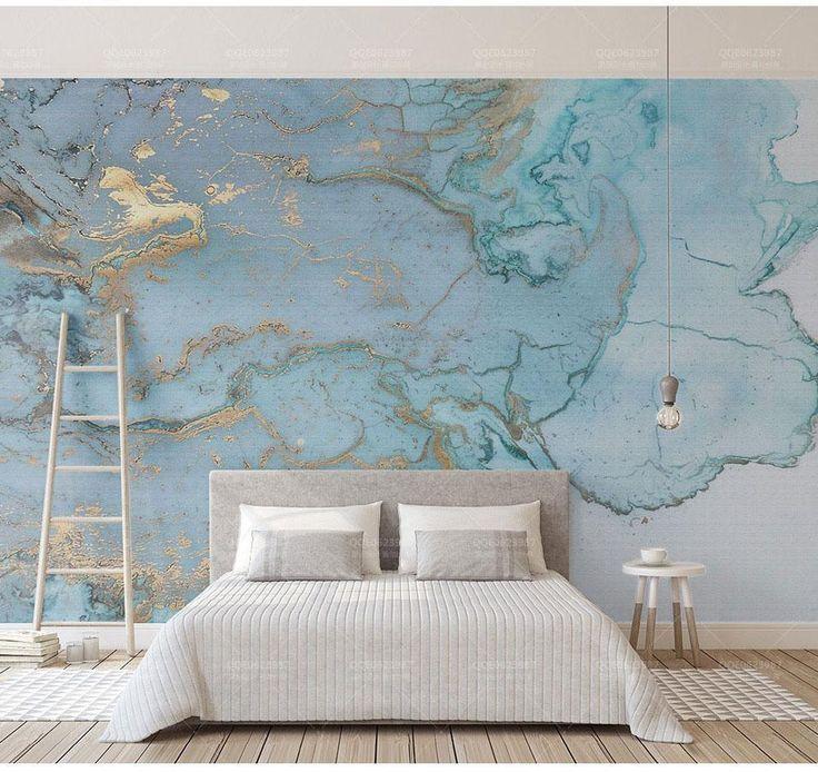 Best Luxurious Gold Print Blue Texture Marble Wallpaper Murals 400 x 300