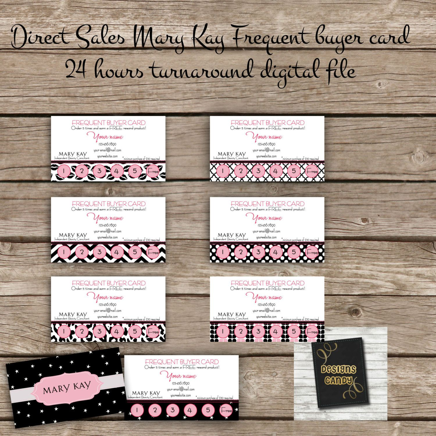 Frequent buyer card digital file direct sales business marketing frequent buyer card digital file direct sales business marketing mary kay business card printable diy custom digital download by designscand reheart Image collections