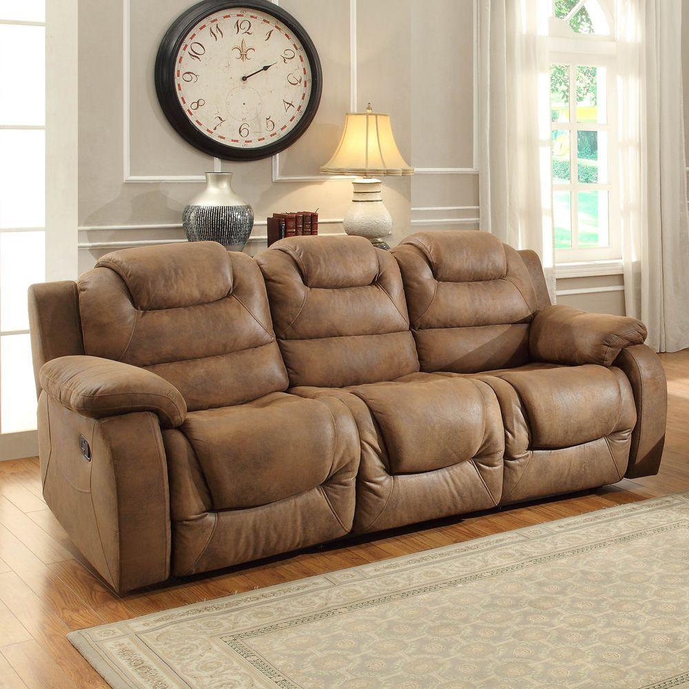 Homelegance Homelegance Hoyt Double Reclining Sofa In Bomber Jacket Microfiber Brown Furniture Living Room Furniture Brown Living Room