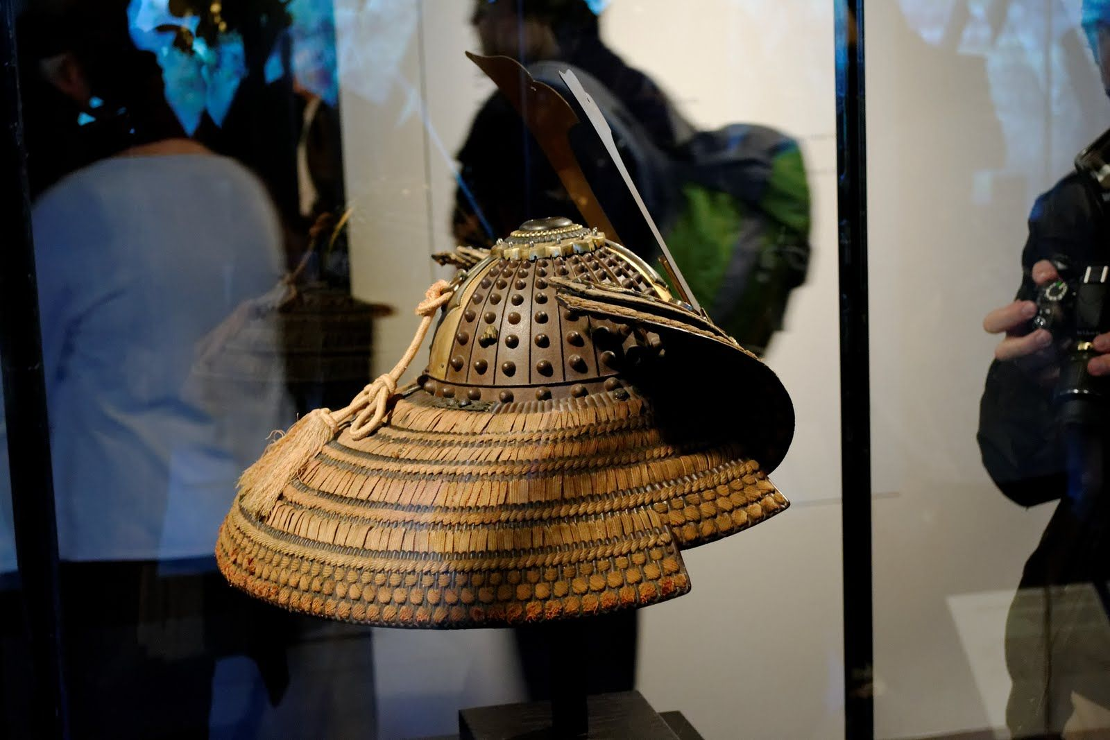 """boshi-suji-bachi kabuto (extruding rivets and ridges) The """"Samurai:Armor of the Warrior"""" exhibit 2011, Musée du Quai Branly, Paris France, from The Ann and Gabriel Barbier-Mueller Museum, Dallas Texas. - I love the shikoro (skirt) on this one"""