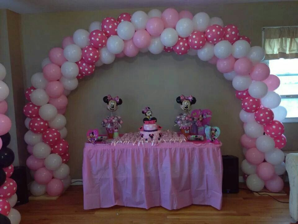 Minnie mouse balloon arch minnie mickey mouse for Balloon decoration minnie mouse